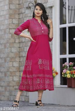 Pink rayon block kurti Maha Price Drop Sale