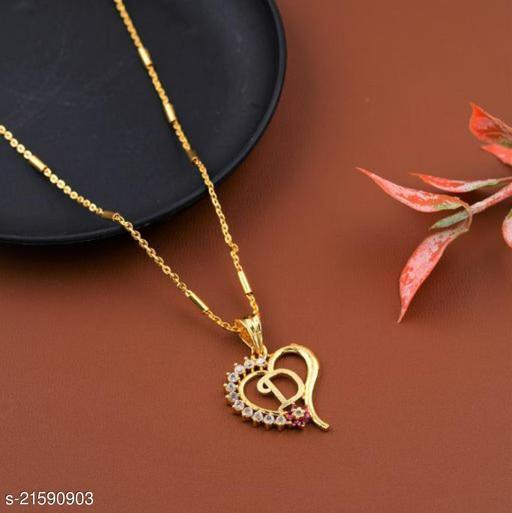 Alphabet (D) Pendant Gold Plated Mangalsutra Women