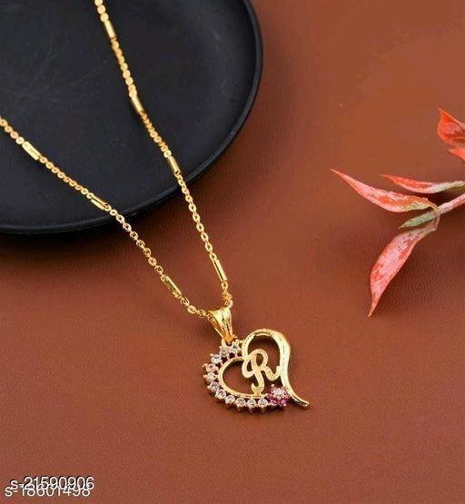 Alphabet (R) Pendant Gold Plated Mangalsutra Women