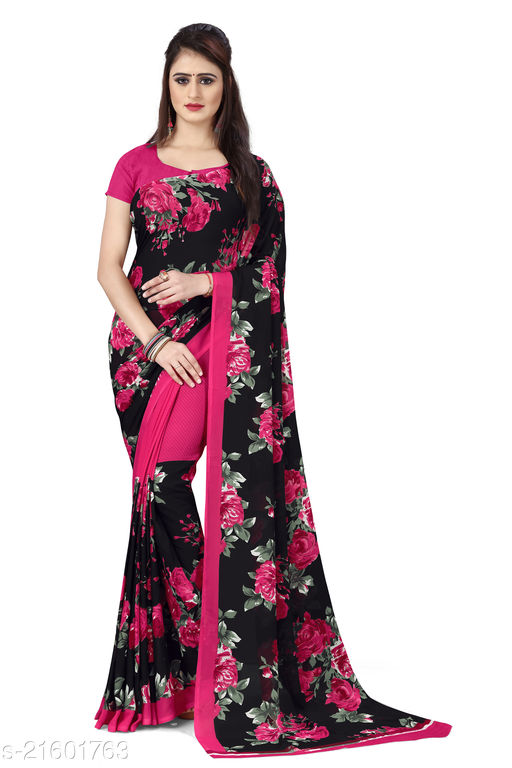 Printed Georgette Saree with unstitched Blouse Piece