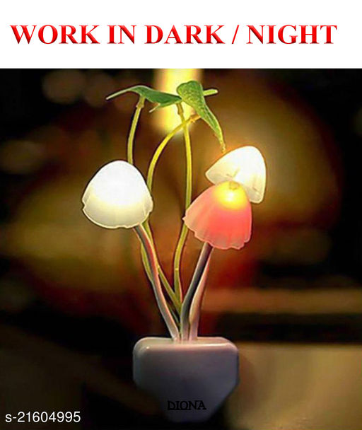 Diona Mushroom Automatic On/Off Sensor LED Night Lamp With Multi Color Lights
