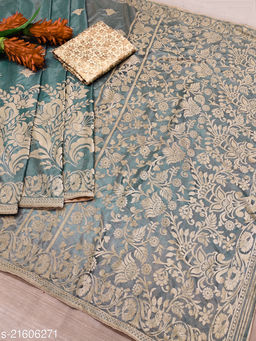 buck mason womens fancy partywear designer saree with brocade blouse