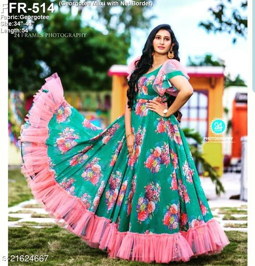 Eye-catching Green Colored Digital Printed Georgette Gown