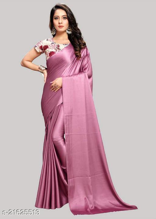 Heavy satin silk with digitel printed blouse saree for stlish women