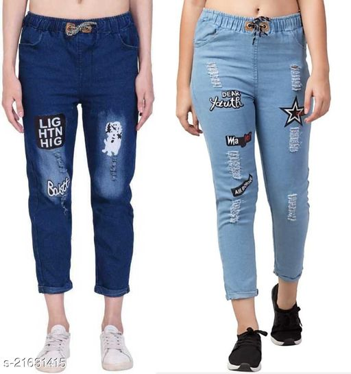 Classic Trendy Flying Joggers Fit Women Blue Denim Jeans For Girls (Pack of 2 )