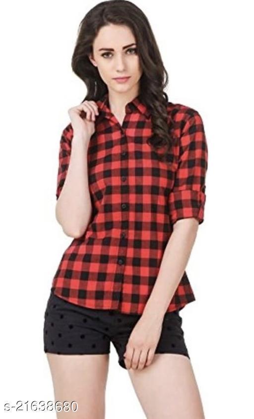 Trendy Women Regular Fit Checkered Collar Casual Shirt