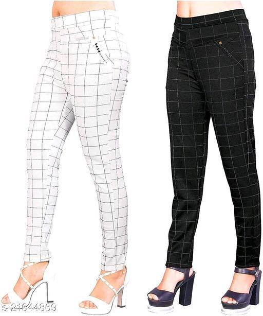 LEADWORT Women's & Girls Slim Fit Jeggings Check Types_ Pack of 2_Free Size WHITE & BLACK