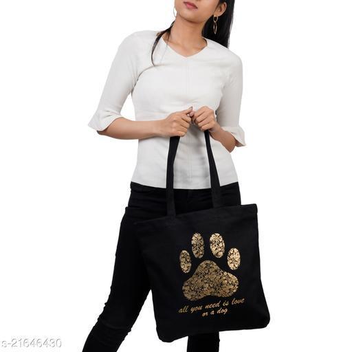 Gorgeous Classy Women Messenger Bags Cotton Canvas Big Paw Black Printed Tote