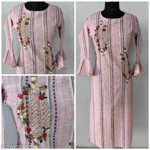 Fancy cotton mini checks straight kurta with handwork & side pocket