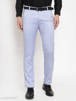 Jainish Men's Solid Cotton Formal Trousers