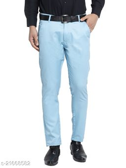 Jainish Men's Cotton Solid Formal Trousers