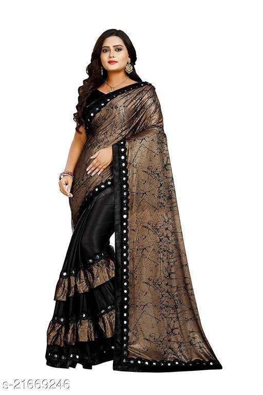 Tennecy Women's Banarasi Lycra Saree With Blouse Material