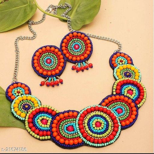 Multicolor Beads Antique Chocker Necklace Set by Sparkling Jewellery