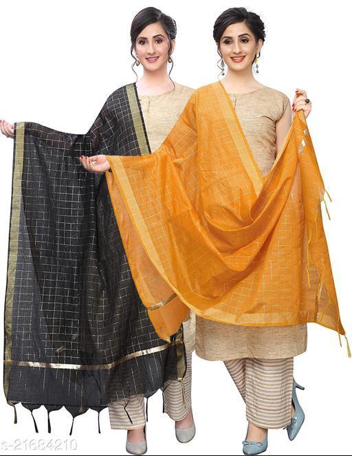 DIAMO Poly Chanderi Women Dupatta Pack of 2