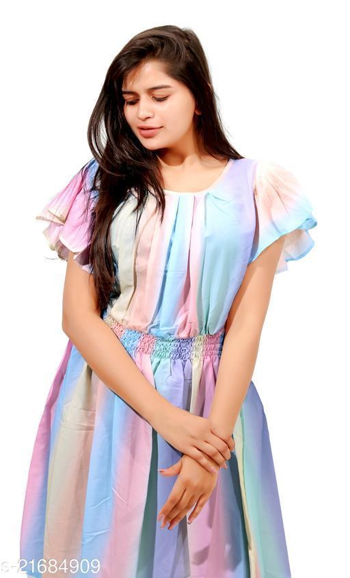 Ekalavya Printed Rainbow Western Wear Dress