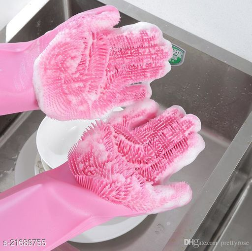 Dishwashing Gloves with Scrubber, Silicone Cleaning Reusable Scrub Gloves for Wash Dish,Kitchen, Bathroom, Pet Grooming