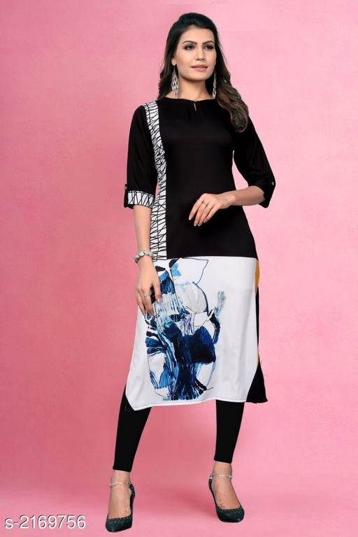 Kurtis & Kurtas Kitsch Heavy American Crepe Kurti  *Fabric* Heavy American Crepe  *Sleeves* Sleeves Are Included  *Size* M- 38 in, L- 40 in, XL - 42 in, XXL- 44 in , 3XL - 46 in  *Length* Up To 46 in To 47 in  *Type* Stitched  *Description* It Has 1 Piece Of Women's Kurti  *Work* Printed  *Sizes Available* M, L, XL, XXL, XXXL   Catalog Rating: ★3.9 (259) Supplier Rating: ★4 (2846) SKU: 802 Shipping charges: Rs49 (Non-refundable) Pkt. Weight Range: 300  Catalog Name: Haasita Kitsch Heavy American Crepe Kurtis Vol 2 - SANDEEP ETHNIC CENTER Code: 992-2169756--