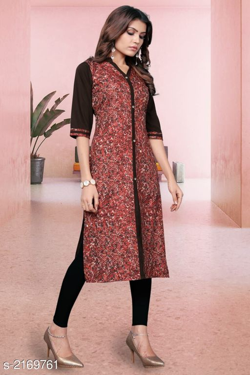 Kurtis & Kurtas Kitsch Heavy American Crepe Kurti  *Fabric* Heavy American Crepe  *Sleeves* Sleeves Are Included  *Size* M- 38 in, L- 40 in, XL - 42 in, XXL- 44 in , 3XL - 46 in  *Length* Up To 46 in To 47 in  *Type* Stitched  *Description* It Has 1 Piece Of Women's Kurti  *Work* Printed  *Sizes Available* M, L, XL, XXL, XXXL   Catalog Rating: ★3.9 (259) Supplier Rating: ★4 (2846) SKU: 804 Shipping charges: Rs49 (Non-refundable) Pkt. Weight Range: 300  Catalog Name: Haasita Kitsch Heavy American Crepe Kurtis Vol 2 - SANDEEP ETHNIC CENTER Code: 992-2169761--