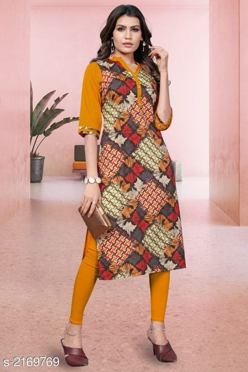 Kurtis & Kurtas Kitsch Heavy American Crepe Kurti  *Fabric* Heavy American Crepe  *Sleeves* Sleeves Are Included  *Size* M- 38 in, L- 40 in, XL - 42 in, XXL- 44 in , 3XL - 46 in  *Length* Up To 46 in To 47 in  *Type* Stitched  *Description* It Has 1 Piece Of Women's Kurti  *Work* Printed  *Sizes Available* M, L, XL, XXL, XXXL   Catalog Rating: ★3.9 (259) Supplier Rating: ★4 (2846) SKU: 807 Shipping charges: Rs1 (Non-refundable) Pkt. Weight Range: 300  Catalog Name: Haasita Kitsch Heavy American Crepe Kurtis Vol 2 - SANDEEP ETHNIC CENTER Code: 713-2169769--544
