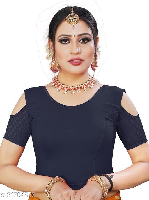 Round neck, Cold Shoulder designer  stretchable cotton lycra blouse for women & girls.