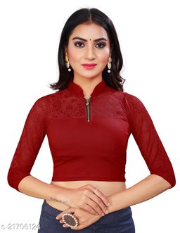 Designer collared front zip opening cotton lycra blouse with net sleeve and oval back cut