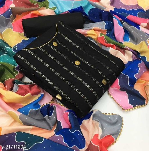 Cotton with Sequence Work Dress Material
