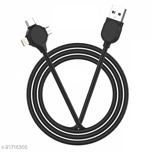 Multifunction Fast Charging Cable for Android, iOS and Type C Devices, 3 in 1 Charging Cable, 2.4A