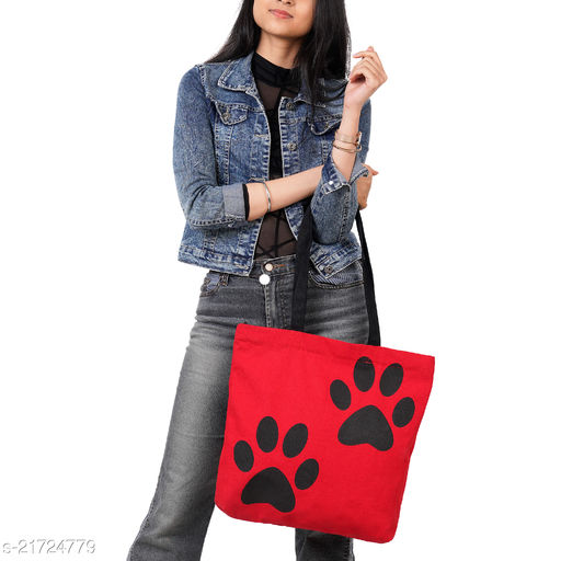 Vivinkaa Cotton Canvas 2 Paws Red Printed Tote