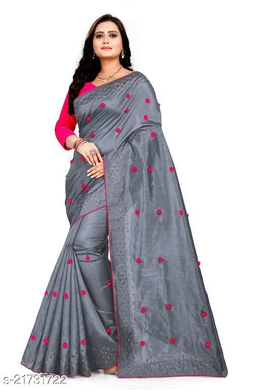 pompom paper saree with stone work
