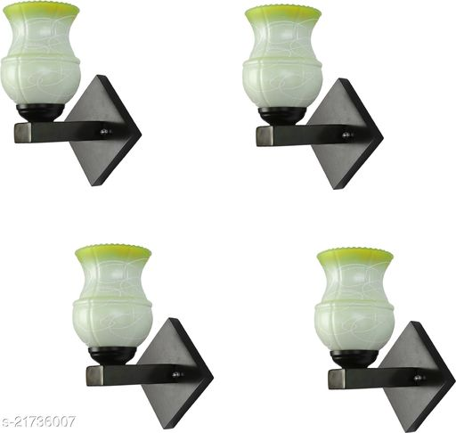 Designer Colourful LED Sconce Glass Wall Light/ Night Lamp WIth Stylish Wood Fitting, 7 Watt, With All Fixture, Power Saver (Set Of 4)