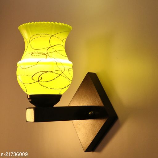 Designer Colourful LED Sconce Glass Wall Light/ Night Lamp WIth Stylish Wood Fitting, 7 Watt, With All Fixture, Power Saver