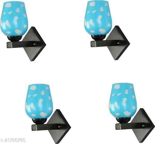 Attractive Colourful LED Sconce Glass Wall Light/ Night Lamp WIth Stylish Wood Fitting, 7 Watt, With All Fixture, Power Saver (Set Of 4)