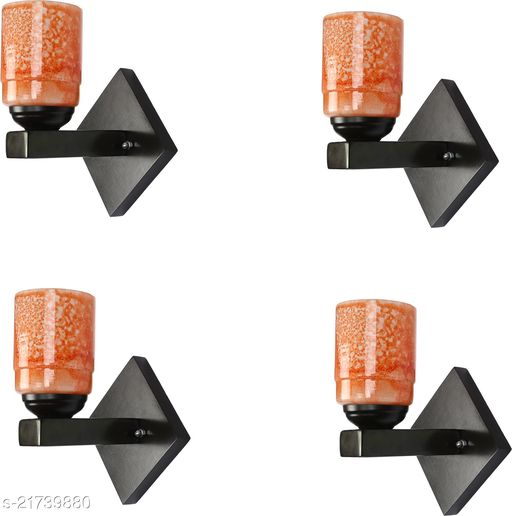 Stylish Wood & Glass LED Sconce Wall Lamp Light WIth Trendy Designer Fitting, 7 Watt, With All Fixture And LED Light (Set Of 4)