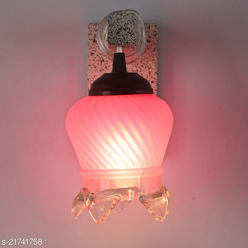 Fancy Decorated Wall Light WIth Stylish Wood Fitting And Hand Decorated Colorful Glass Shade With All Fixture & fitting