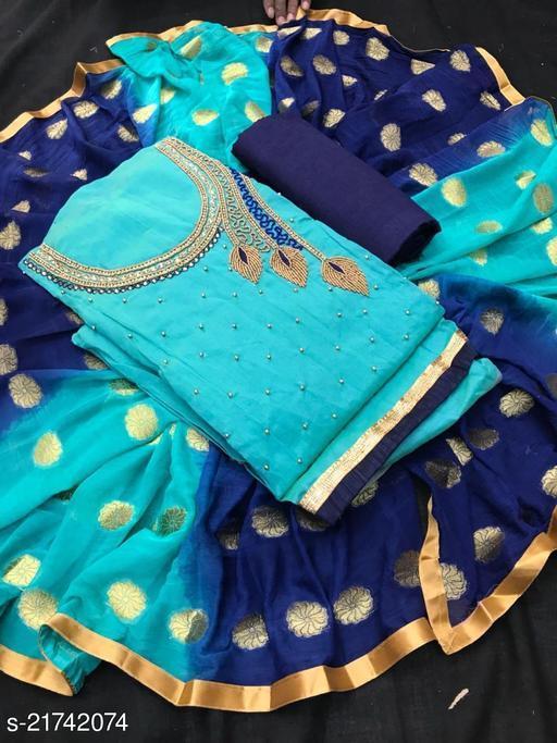 MORPANKH DESIGN CHANDERI DRESS MATERIAL FOR WOMEN