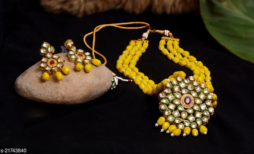 ANUTTAM crystal beads kundan necklace set  with pair of earring