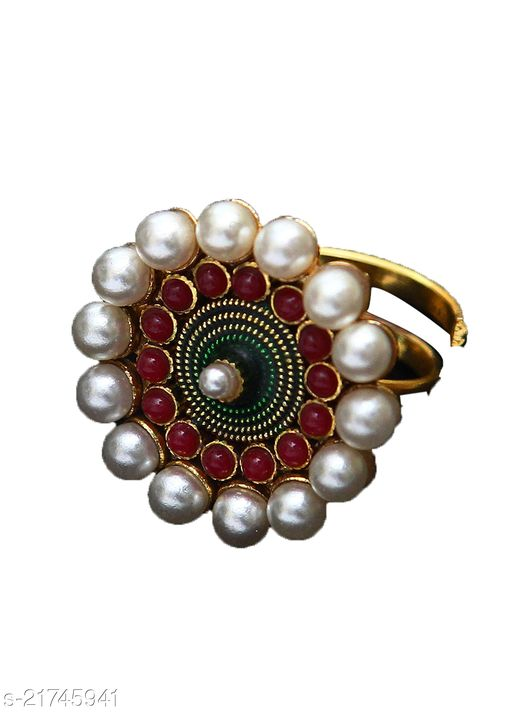 Latest Design Ethnic Ring Pearl,Ruby CZ Multicolor Rich Designer 18K Gold Plated Adjustable Rings Fashion Jewellery for Girls Ladies Women