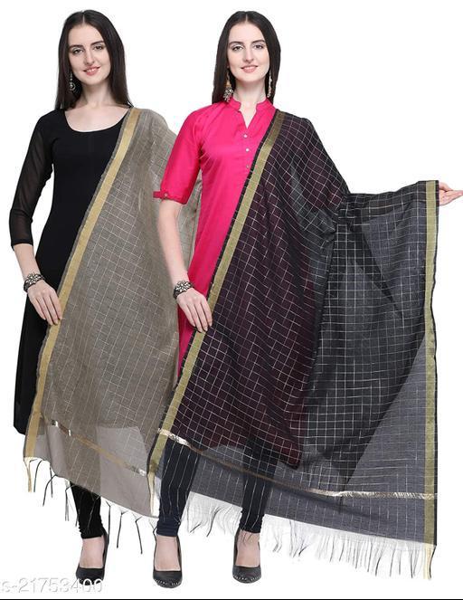 DIAMO Chanderi Check Design Women Dupatta Pack of 2