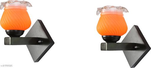 Attractive Colourful LED Sconce Glass Wall Light/ Night Lamp WIth Stylish Wood Fitting, 7 Watt, With All Fixture, Power Saver (Set Of 2)