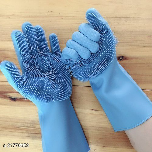 Silicon Hand Gloves for Kitchen Dishwashing and Pet Grooming, Great for Washing Dish, Car, Bathroom