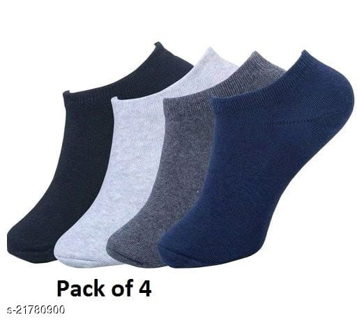 PinKit Casual Trendy Soft Cotton Ankle Length Socks - 4 Pairs