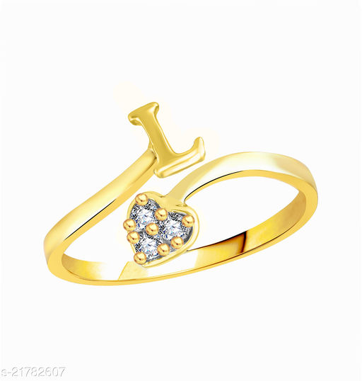 """Trendy Adjustable Stylish Initial Alphabet Letter """"L"""" Diamond Studded Heart Ring Fancy Party Wear American Diamond Free Size Gold Plated Fashion Jewellery for Women and Girls"""