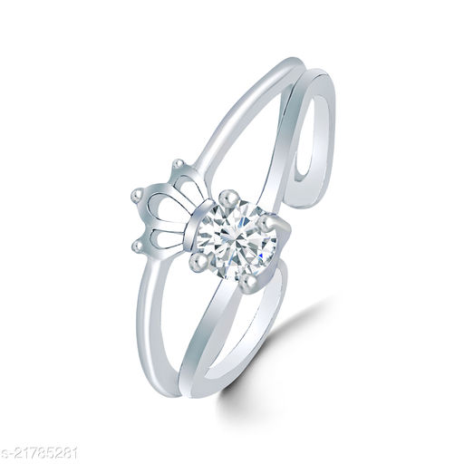 Trendy Adjustable Crown Single American Diamond Stone Rhodium Plated Stylish Fancy Party Wear Latest Design Shaped for Women and Girls
