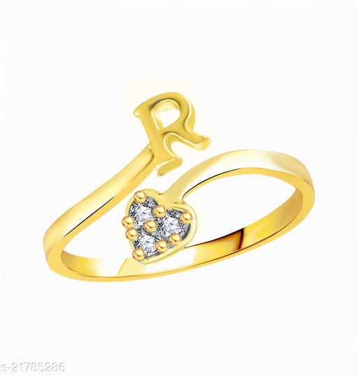 """Trendy Adjustable Stylish Initial Alphabet Letter """"R"""" Diamond Studded Heart Ring Fancy Party Wear American Diamond Free Size Gold Plated Fashion Jewellery for Women and Girls"""