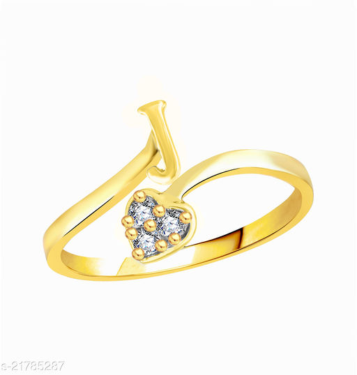"""Trendy Adjustable Stylish Initial Alphabet Letter """"J"""" Diamond Studded Heart Ring Fancy Party Wear American Diamond Free Size Gold Plated Fashion Jewellery for Women and Girls"""