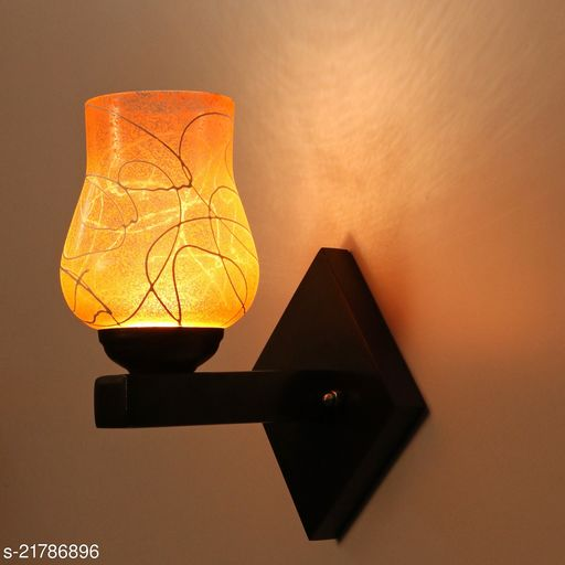 Stylish Wood & Glass LED Sconce Wall Lamp Light WIth Trendy Designer Fitting, 7 Watt, With All Fixture And LED Light