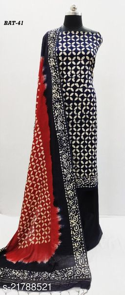Cambric Cotton with Wax Batik Print Dress Material