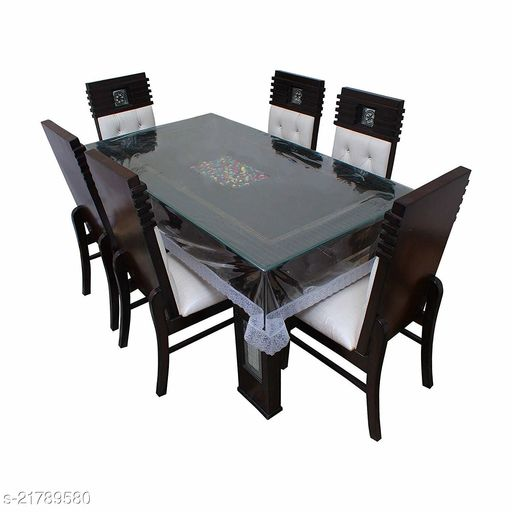 PVC Transparent 8 Seater Table Cover With Silver Lace ( Size-60x108 inches)
