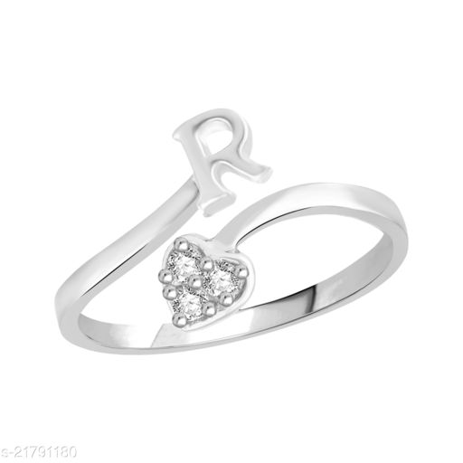 """Trendy Adjustable Stylish Initial Alphabet Letter """"R"""" Diamond Studded Heart Ring Fancy Party Wear American Diamond Free Size Rhodium Plated Fashion Jewellery for Women and Girls"""