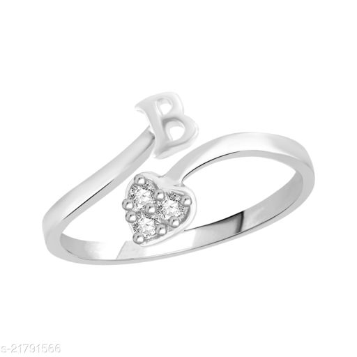 """VSHINE Adjustable Stylish Initial Alphabet Letter """"B"""" Diamond Studded Heart Ring Fancy Party Wear American Diamond Free Size Rhodium Plated Fashion Jewellery for Women and Girls"""